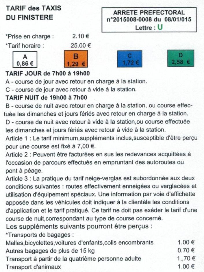 Tarif taxi 2015